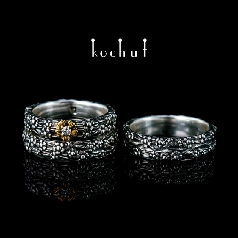 Komplet «Pomněnky» (zásnubní a snubní prsteny). Stříbro, oxidace, pozlacení, briliant