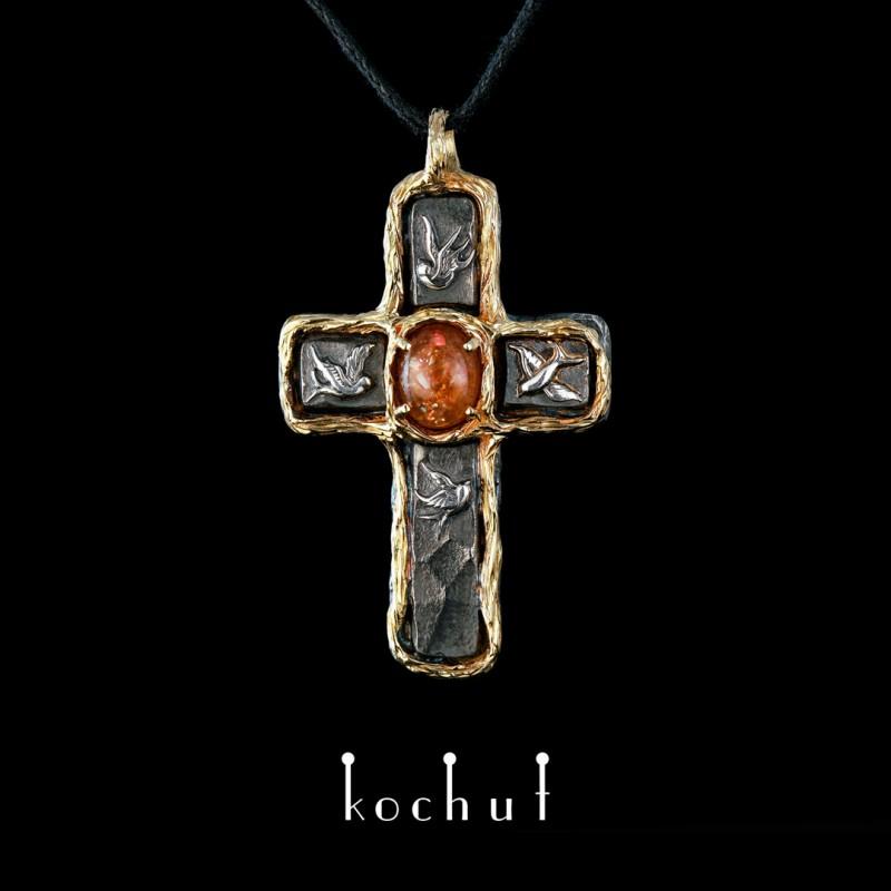 Хрестик «Дім сонця». Срібло, жовте золото, сонячний камінь, оксидування