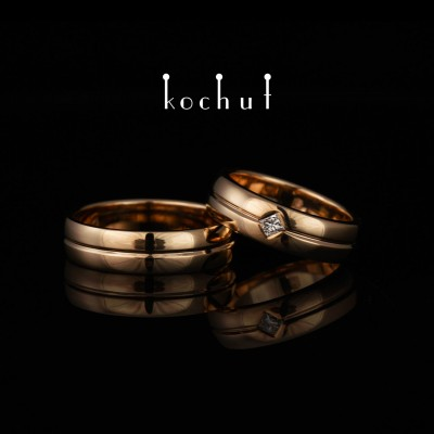 Wedding rings «Axis of Love». Red gold, diamond