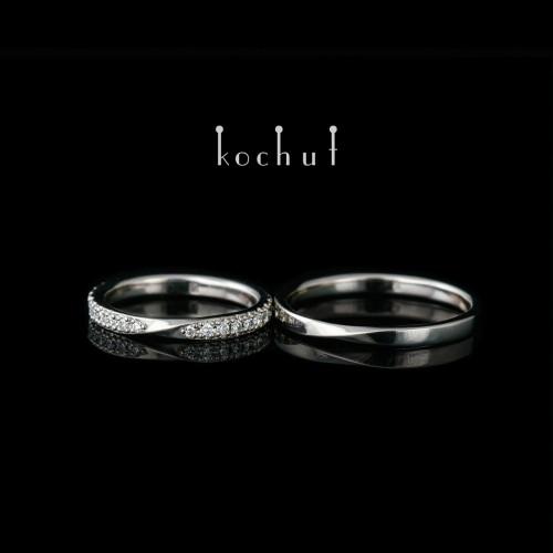Narrowed wedding bands «Mobius Tape». Palladium gold, diamonds