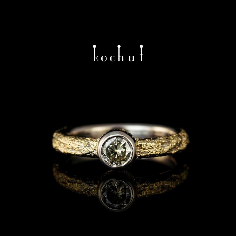 Каблучка на заручини «Душа і тіло». Паладієве золото 750 проби  та наплавлення жовтого золота 750 проби, діамант