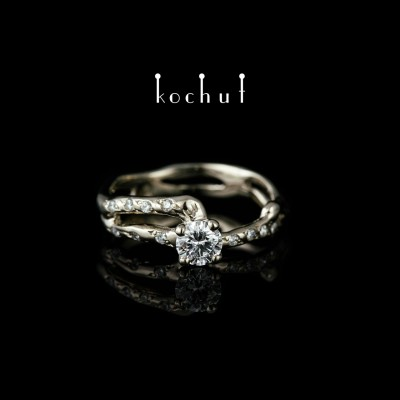 Каблучка на заручини «Русалка». Біле золото, діаманти