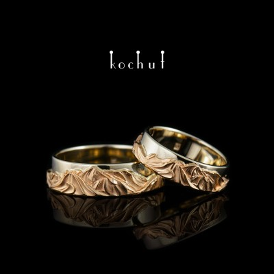 Wedding rings «Peaks of Love». Red and white gold