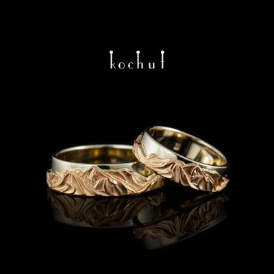 Snubní prsteny «Vrcholky lásky». Červené a bílé zlato