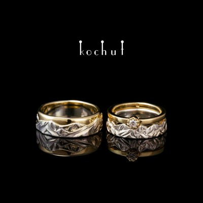 Set: proposal ring and wedding rings «Peaks of Love». Silver and yellow gold, diamond