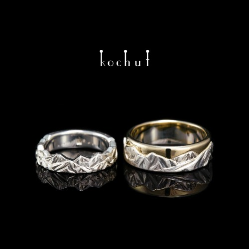 Wedding rings «Tops of love». Silver and yellow gold, diamond