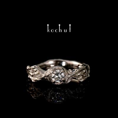 Engagement ring «Sprouts». Palladium gold, diamond.