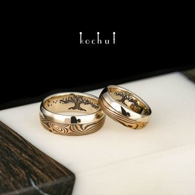 Mokume wedding rings «Bonsai». Red and white gold, etched silver, oxidation, black rhodium