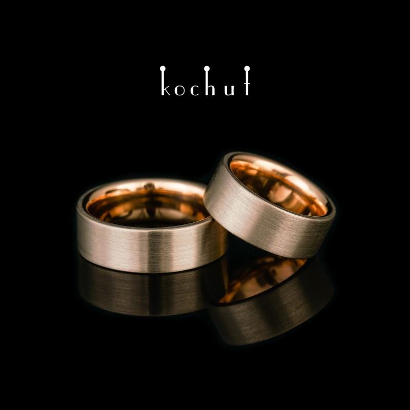 Flat-shaped wedding rings «Universal». Palladium and red gold
