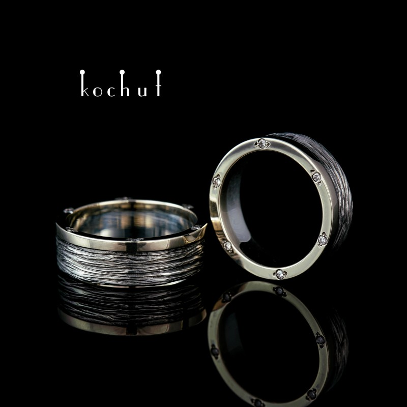 Wedding rings «Tree bark. With a rim». White gold, silver, oxidation, diamonds