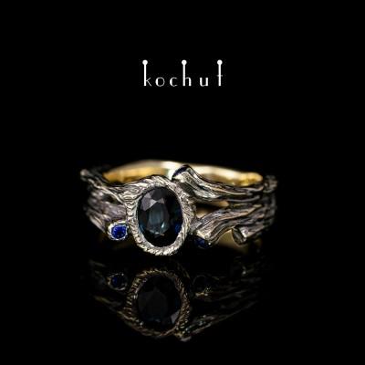 Prsten «Sladký plod». Žluté zlato, černé rhodium, safíry