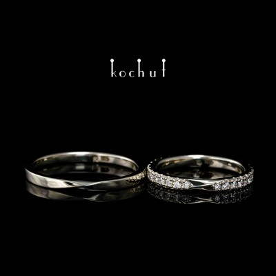 Narrowed wedding bands «Mobius ribbon». White gold, diamonds