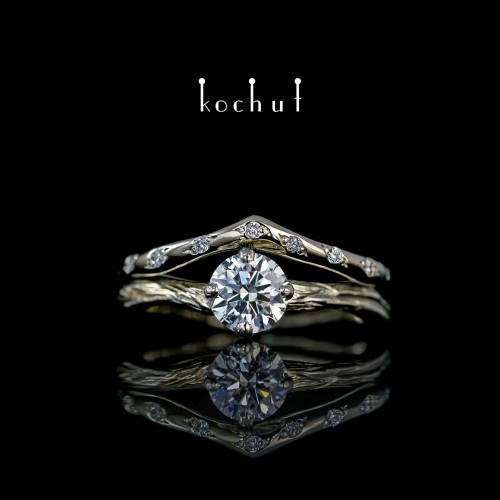 Double ring «Elven tenderness.» White gold, diamonds