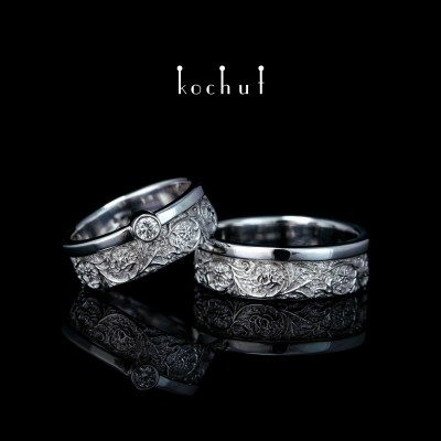 Wedding rings «Harmony of nature.» White gold, diamond, white rhodium