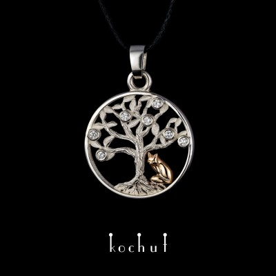 Pendant «Tree of Life with a fox». Silver, red gold, diamonds