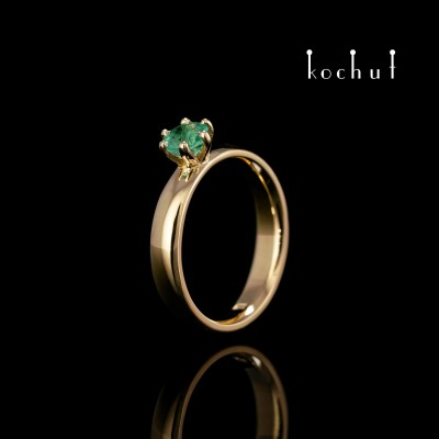 Engagement ring «Persephone». Yellow gold emerald