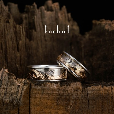 Wedding rings «Peaks of Love. Kinematic». Silver and red gold, oxidation