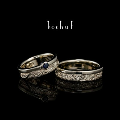 Wedding rings «In joy and sorrow Halves». White gold, sapphire