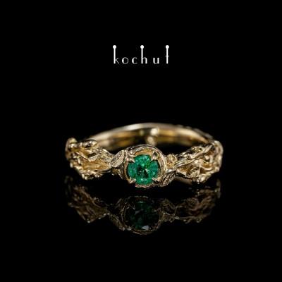 Prsten «Klíčky». Žluté zlato, smaragd