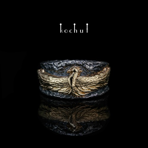 Ring «Phoenix». Silver, yellow gold, oxidation