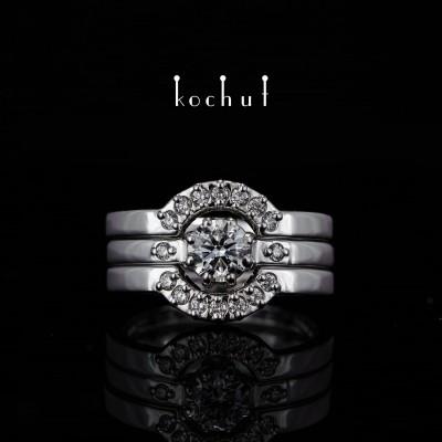 Каблучка на заручини «Меридіана». Біле золото, діаманти, білий родій