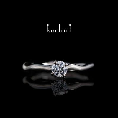 Помолвочное кольцо «Нежные объятия». Палладиевое золото, бриллиант