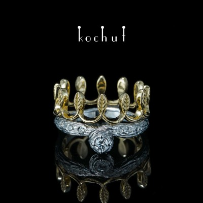 Помолвочное кольцо «Ее величество». Желтое золото, серебро, бриллиант, белый родий