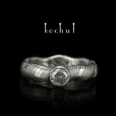 Кольцо мокуме «Северное сияние» (бесшовная).Палладиевое золото, травленое серебро, бриллиант