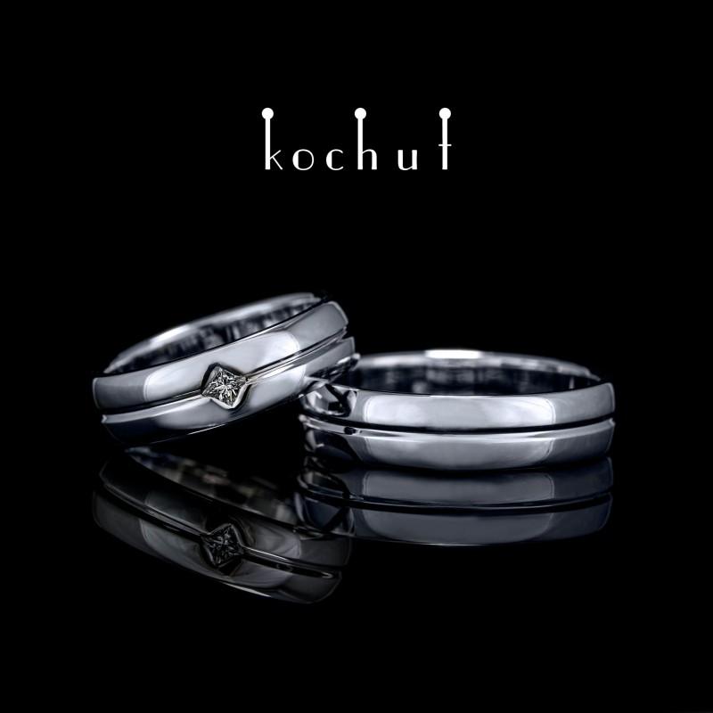 Обручальные кольца «Ось любви». Белое золото, бриллиант, белый родий