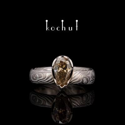 Кольцо мокуме «Икигаи». Палладиевое золото, травленное серебро, бриллиант