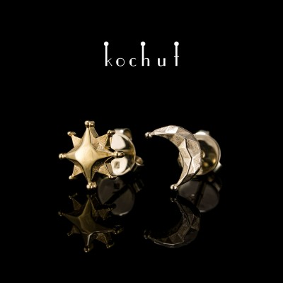 Earrings «Sun and Moon». White, yellow gold