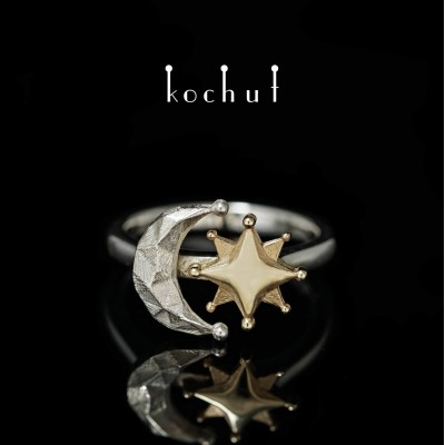Ring «Sun and the Moon». Yellow gold, silver