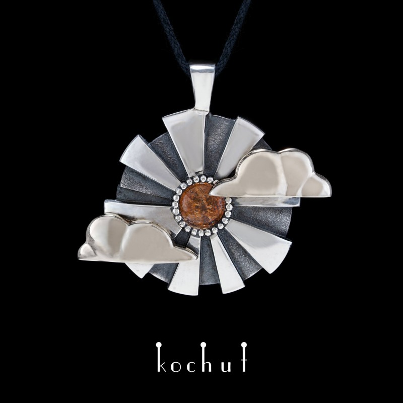 Pendant «Through the Darkness». White gold, silver, sunstone, oxidation