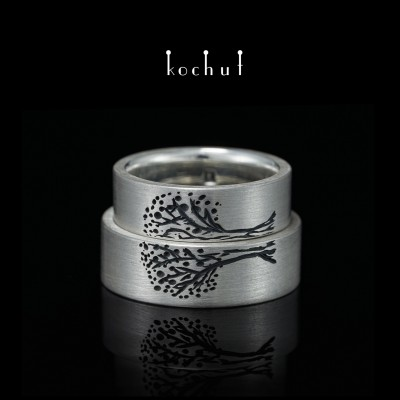 Flat-shaped wedding rings «Tree of Life, halves». Silver, oxidation