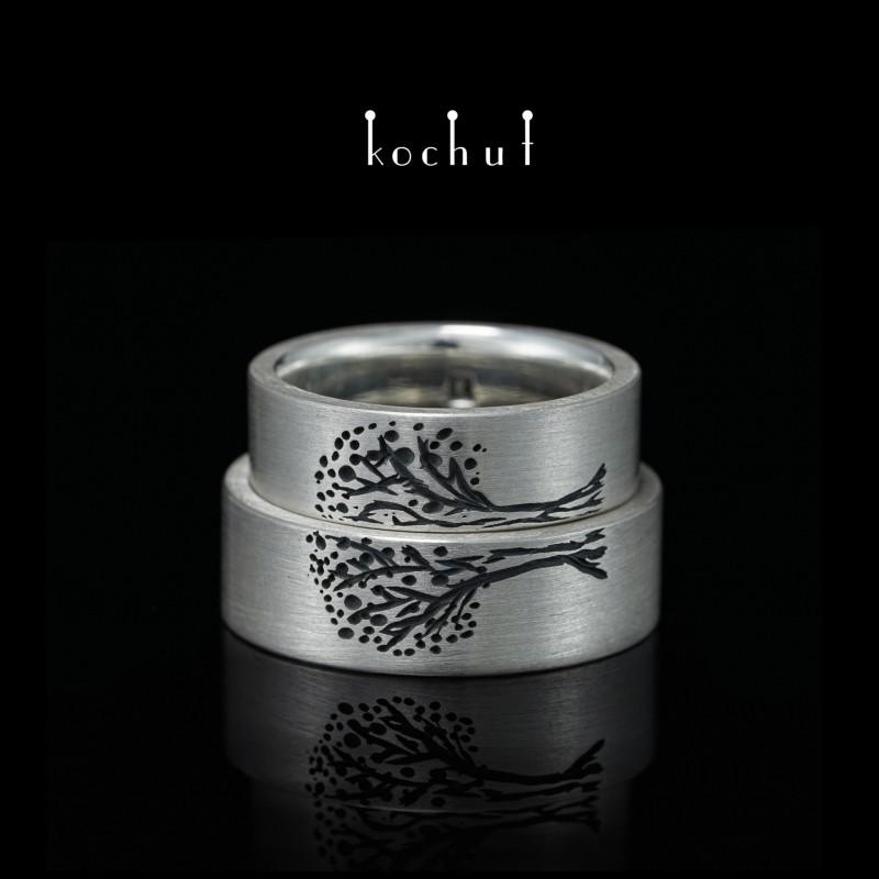 Flat-shaped wedding rings «Tree of Life, halves». Silver, oxidation