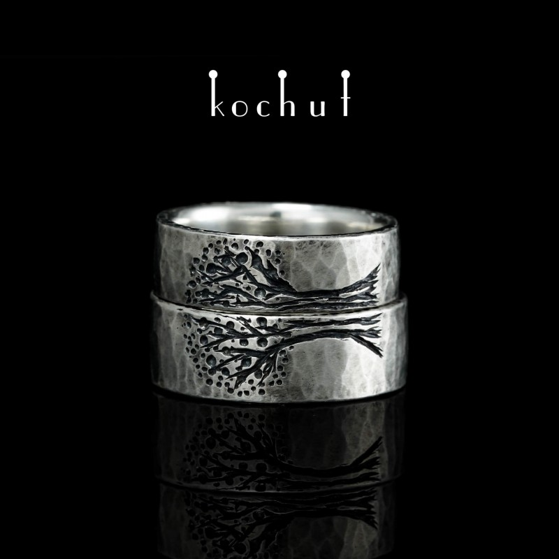 Flat-shaped wedding rings «Tree of Life, halves forged Light». Silver, oxidation