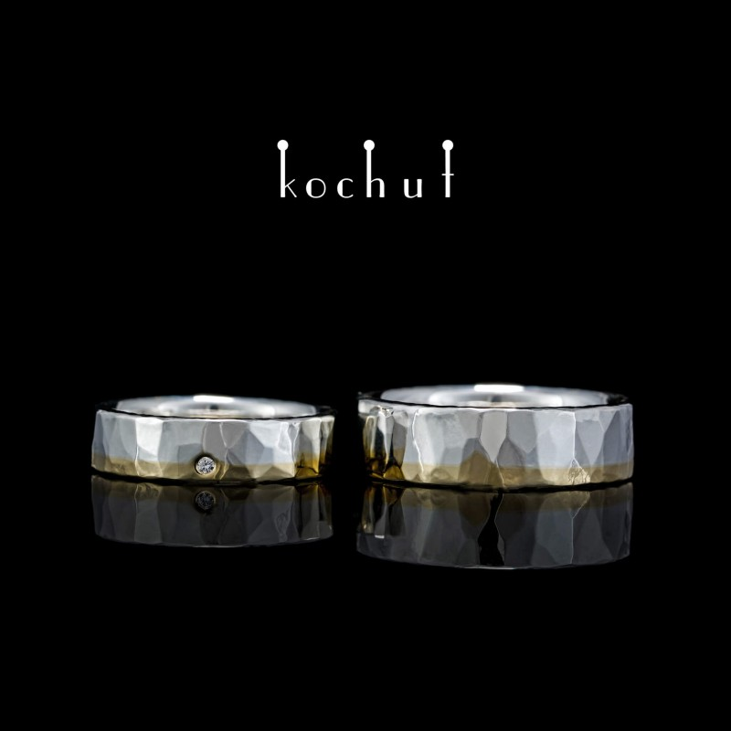 Flat-shaped wedding rings «Iceberg of feelings». Yellow gold, silver, diamond