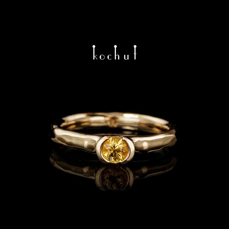 Помолвочное кольцо «Абсолют». Желтое золото 750-й пробы, желтый сапфир