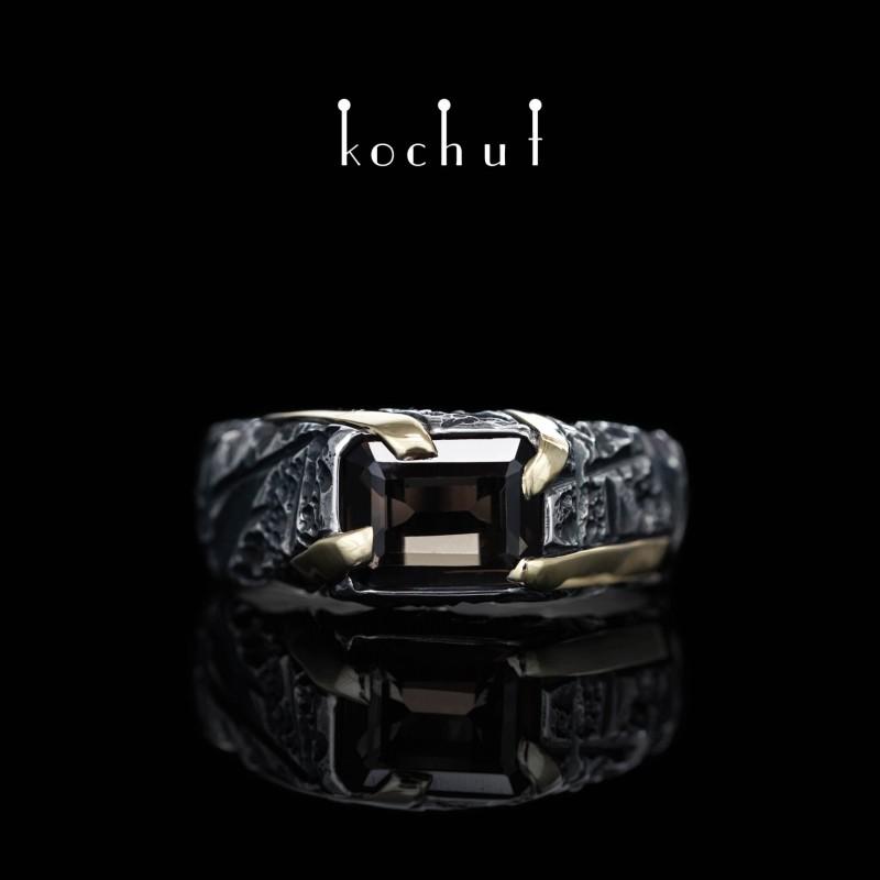 Перстень «Повелитель». Жовте золото, срібло, димчастий кварц, оксидування