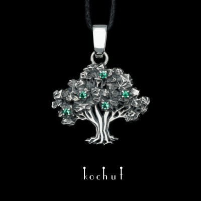 Pendant «The Tree of Life». Silver, emeralds