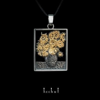 Pendant «Sunflowers Van Gogh». Silver, oxidation, gilding