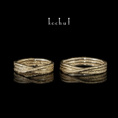 Wedding rings «Ribbon of Mobius». Silver, fusing of yellow gold