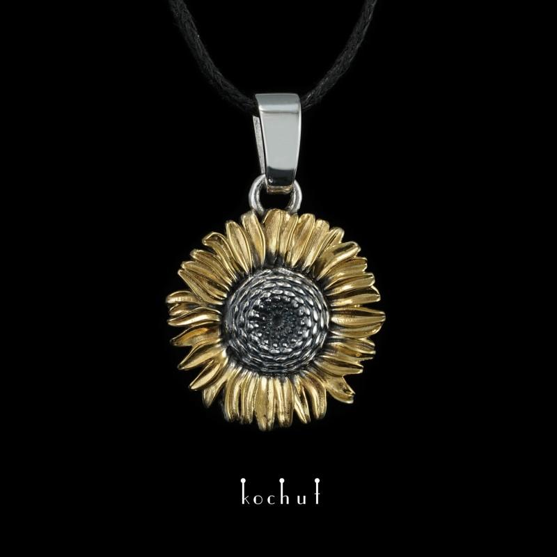 Кулон «Цветок солнца». Серебро, оксидирование, позолота