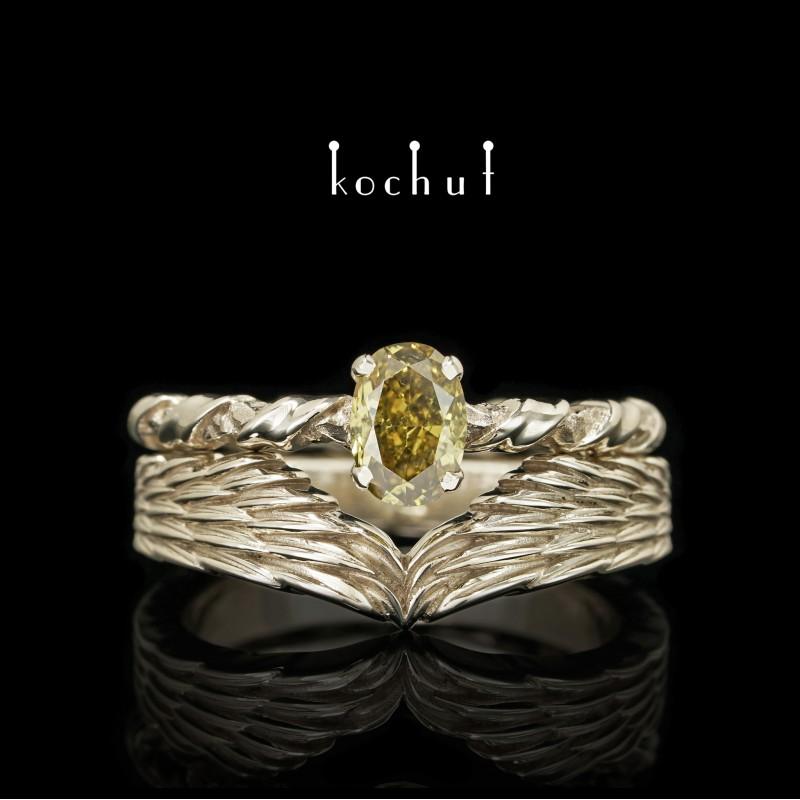 Подвійна каблучка на заручини «Єлена Троянська». Біле золото, діамант
