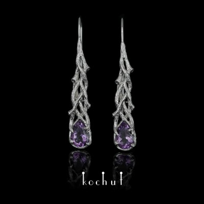 Earrings «Galadriel». White gold, amethysts, white rhodium