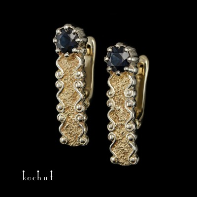Earrings «Marquis». White and yellow gold, sapphires