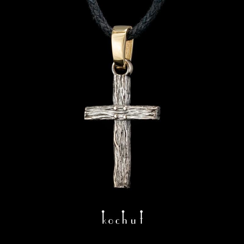 Натільний хрестик «Животворящий». Жовте та біле золото, чорний родій