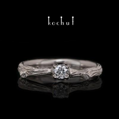 Помолвочное кольцо «Хрупкая веточка». Палладиевое золото, бриллиант