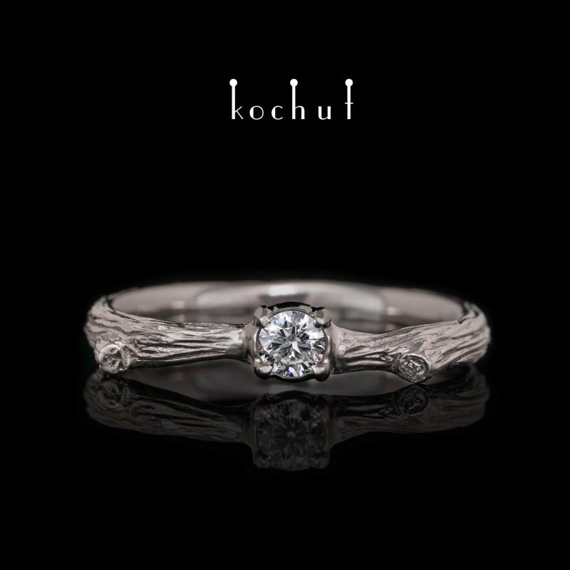 Prsten «Křehká větvička». Palladiové zlato, briliant