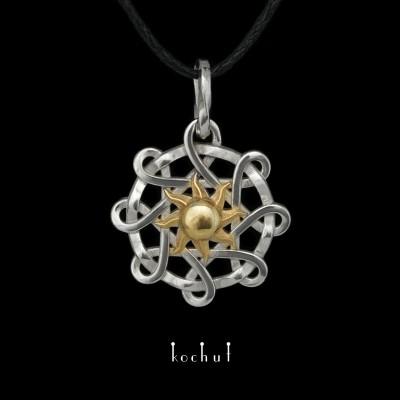 Pendant «Suria». White gold, gilding, white rhodium